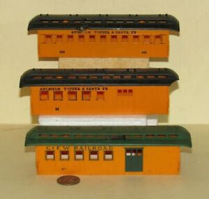 3 ho Old Time COMBINE PASSENGER CAR BODIES for PARTS / REPAIR Model Train Layout