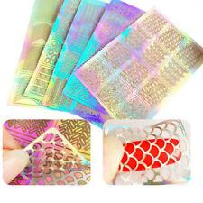 6 Feuilles Vinyle Pochoir Stickers Creux Autocollant à ongles Nail Art Manucure