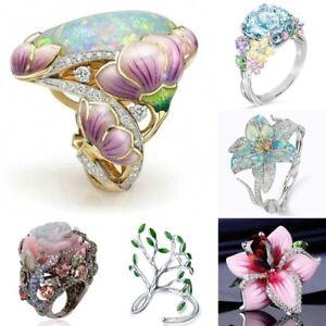 Luxury Huge Opal Woman 18K Gold Filled Flower Ring Fashion Wedding Jewelry Hot