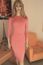 NWT Coral Mock Neck Body Sculpting Knit Stretch 3/4 Sleeve Bodycon Dress S