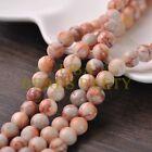 30pcs 8mm Round Natural Stone Loose Gemstone Beads Red Vein Stone