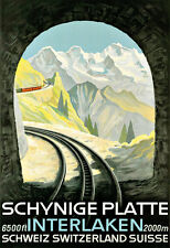 Art Ad Schynige Platte Interlaken Switerland Swiss Train Travel Poster Print
