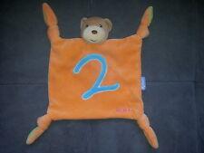 Doudou KALOO ours plat orange vert 4 noeuds 2 bleu