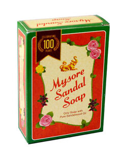 6x Skin Care Mysore Sandal Soap 75gm Pure Sandalwood Oil Savon Soap (Pack of 6)