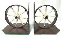 Vintage Cast Iron Wagon Wheel Bookends Set 3.12 lbs Each RARE