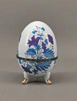 9973933 bunte Porzellan Ei Dose blau gold  Blumen Rosen H15,5cm