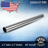 """2.5"""" 63mm 5 FT Exhaust Stainless Steel T409 Straight Pipe Tube Piping Tubing"""