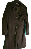 Women's Size Small Black mid calf length Coat Button Front Lined Miss Posh