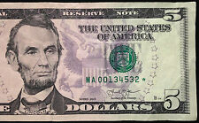 2013 $5 Five Dollar Bill STAR NOTE US Currency, Low Serial # 00134532 ☆, FRB A