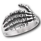 Halloween Men's Large New Stainless Steel Skull Hand Ring - Sizes 8-13