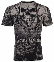 XTREME COUTURE by AFFLICTION Mens T-Shirt KILLER Skulls BLACK Biker $40 a