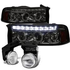 FOR 94-01 DODGE RAM 1500 SMOKED LED HEADLIGHT+AMBER SIGNAL+CHROME OEM FOG LIGHT