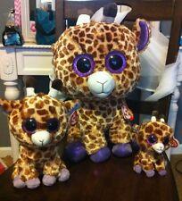 """New NWT Ty Beanie Boos Safari Giraffe Lot Reg 6"""" Med 13"""" & Lge 16"""" MINT! Glitter"""