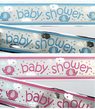 12ft Baby Shower Sparkly Pink or Blue Foil Banner Party Decoration Wall / Door