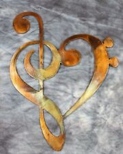 METAL WALL ART DECOR MUSIC HEART NOTES MUSICAL CLEF style 2 copper