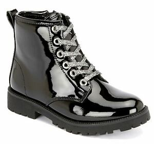 Girls Kids Military Hi Shine Patent Lace Up Zip Smart Casul Ankle Boots Shoes