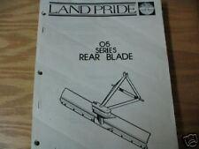 Land Pride 05 Series Rear Blade Operator Amp Parts Manual