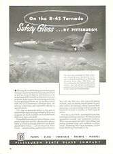 1950 Pittsburgh Plate Glass Ad North American B-45 Tornado Bomber Air Force Jet