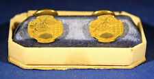 ANTIQUE VICTORIAN ERA CUFF LINKS WITH A LEAF AND BERRY DESIGN MAKER HALLMARKED
