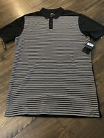NEW NIKE GOLF MENS FIT DRY Black White Striped AT3886 010 S/M (Tall)