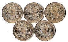 5x20 SFr Vreneli 5,81g Feingewicht 900er Gold 1935 ohne L, Auflage nur 175.000