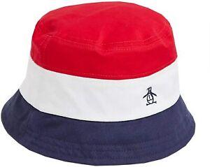 ORIGINAL PENGUIN Mens Unisex Navy Blue Red White Bucket Festival Hat One Size