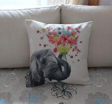 "17"" Vintage Flowers Elephant Cotton Linen Cushion Cover Throw Pillow Decor Z771"