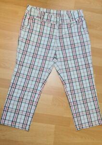 GOLFINO, 3/4 Golfhose Damen, schwarz-weiß-rot kariert, Größe 40 Capri
