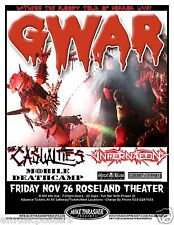 GWAR 2010 PORTLAND CONCERT POSTER - Witness the Bloody Tour Of Horror Live
