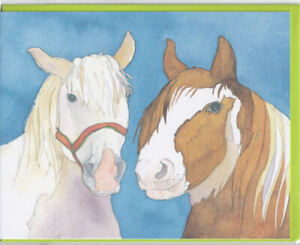 Two Horses Greetings Card - Emma Ball birthday blank inside watercolour horse