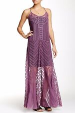 NWT Free People Meadows of Lace Maxi Slip Dress Purple Size Small $198