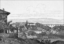 AGEN et le PONT de PIERRE sur la GARONNE - Gravure du 19e siècle