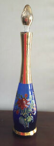 Beautiful Vintage murano Blue Hand Painted Decanter