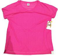 Avia Womens Short Sleeve V-Neck Tunic Tee Shirt Athletic Shirt Pink White Size L