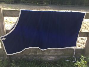 "Equestrian, Horse, Pure Wool  Day Rug, 6'0"" Blue/ Beige Binding (Ref:29B))"