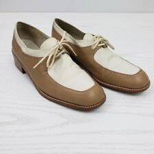 Stuart Weitzman Womens Oxford Wingtip Shoes 8 M Tan and Cream Leather Heel