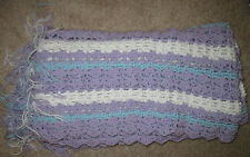 "Hand Made Knit/Crochet Baby Blanket 40"" X 42"" Lilac white Blue Newly Made"