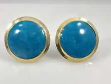 Fabulous Turquoise 24mm 18K Yellow Gold Over Sterling Silver Omega Earrings,New