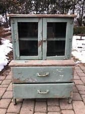 Vintage Children's Solid Wood Kitchen Hutch Kids China Cabinet 1920s Or 30s