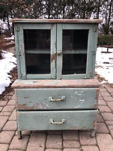 Vintage Children's Solid Wood Kitchen Hutch Kids China Cabinet 1920s Or 30s
