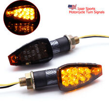 2X Black Motorcycle Turn Signals Mini Blinker Amber Indicator Lights 12V Smoke