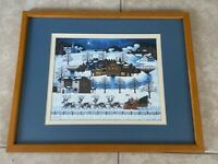 Vintage Charles Wysocki Santa is Coming To Town Print Christmas Scene Framed
