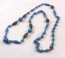 Antique Victorian Blue Art Glass & Filigree Bead Necklace
