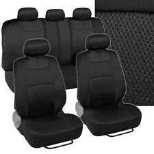 Black Car Seat Cover Set Split Option Bench 5 Headrests Cloth w/ Mesh Panels