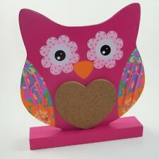 Kids Teen Hoot Owl Message Center Cork Board Paperclip Note Holder Organizer PNK