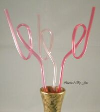 """3 New Breast Cancer Awareness Pink Ribbon Reusable Crazy Drinking Straws 10.5"""""""