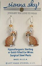 NEW Yellow Orange Tiger Short Hair Dangle Cat Kitten Earrings Sienna Sky USA