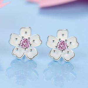 925 Sterling Silver Daisy Pink Stone Stud Earrings Womens Girls Jewellery New UK