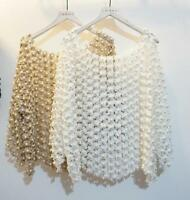 Women's Celebrity Handwork Pearl Beading Hollow Out Half Sleeve Top Loose Shirts