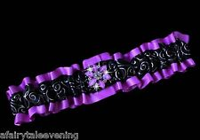 PLUS SIZE PURPLE & BLACK SATIN RIBBON Toss PROM GARTER Wedding Bridal HANDMADE